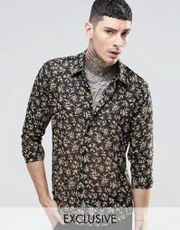 Шифоновая рубашка классического кроя с цветочным принтом Reclaimed Vin
