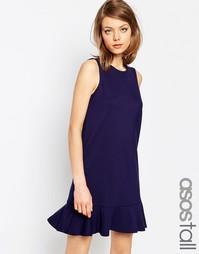 Цельнокройное платье из трикотажа понте с рюшами по низу ASOS TALL