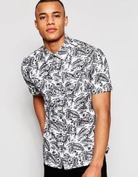 Рубашка с короткими рукавами и гавайским принтом D-Struct - Белый
