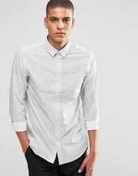 Рубашка со сплошным лиственным принтом Selected Homme - Белый
