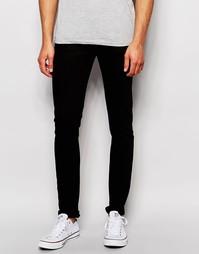 Выбеленные черные супероблегающие джинсы LDN DNM - Черный