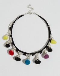 Короткое ожерелье с помпонами ASOS - Мульти