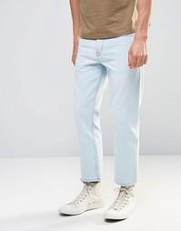 Голубые укороченные прямые джинсы ASOS - Выбеленный синий