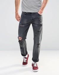 Выбеленные черные прямые джинсы с прорехами ASOS - Выбеленный черный