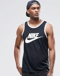 Черная майка с логотипом-галочкой Nike 779234-011 - Черный