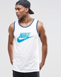 Белая майка с большим логотипом-галочкой Nike 779234-101 - Белый