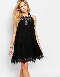 Свободное платье с кружевом Boohoo - Черный