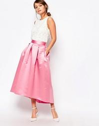 Пышная атласная юбка миди для выпускного Closet - Розовый