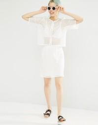 Ажурная юбка с завышенной талией Monki - Белый