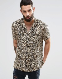 Oversize-рубашка с леопардовым принтом и короткими рукавами Religion