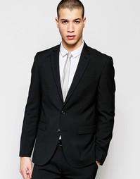 Черный стретчевый пиджак суперзауженного кроя ASOS - Черный