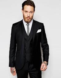Шерстяной пиджак узкого кроя ASOS - Черный