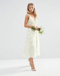 Платье миди с цветочной аппликацией ASOS BRIDAL - Белый