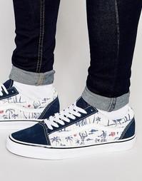 Синие кроссовки с пальмовым принтом Vans Old Skool V3Z6IED - Синий