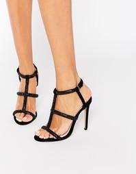 Черные сандалии на каблуке с ремешками и отделкой Faith Laroux