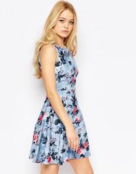 Расклешенное платье с цветочным принтом Closet - Синий