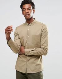 Облегающая рубашка с длинными рукавами ASOS - Stone