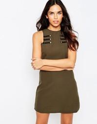 Цельнокройное платье с отделкой в стиле милитари Rare - Хаки