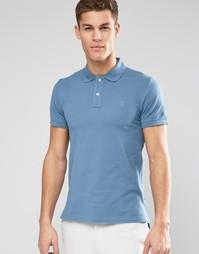 Футболка-поло из ткани пике Esprit - Petrol blue