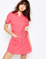 Платье-рубашка из натуральных волокон ASOS - Розовый
