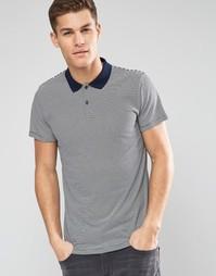 Трикотажная футболка-поло в полоску Esprit - Темно-синий