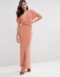 Платье макси с запахом и завязкой ASOS - Blush