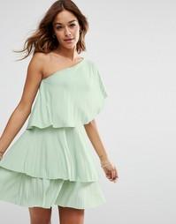 Ярусное плиссированное платье мини на одно плечо ASOS - Мятный