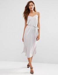 Платье-сорочка миди с поясом ASOS - Серый
