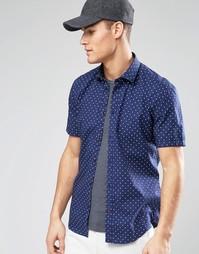 Рубашка зауженного кроя в горошек с короткими рукавами Esprit