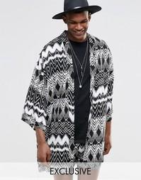 Фестивальное кимоно с ацтекским принтом Reclaimed Vintage - Черный