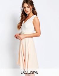 Платье миди с кружевным лифом и отделкой на талии Elise Ryan