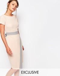 Платье миди 2 в 1 с запахом на юбке и контрастной отделкой Closet