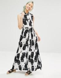 Платье-рубашка макси с принтом Monki - Принт