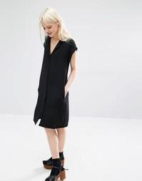 Платье-рубашка с V-образным вырезом Monki - Черный