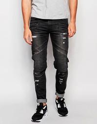 Облегающие байкерские джинсы Black Kaviar - Черный