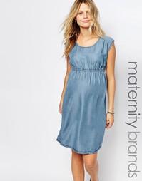 Джинсовое короткое приталенное платье Mamalicious - Синий Mama.Licious