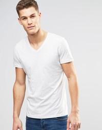 Белая меланжевая футболка с V‑образным вырезом Esprit - Бежевый