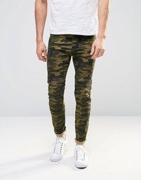 Супероблегающие джинсы с камуфляжным принтом и байкерскими вставками A Asos