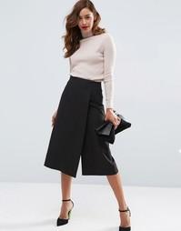 Юбка-шорты с запахом спереди ASOS Tailored - Черный