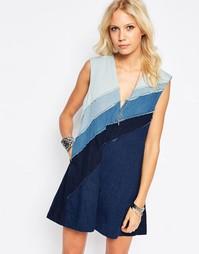 Платье из ткани шамбре в нескольких оттенках синего Free People