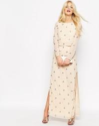 Платье макси с длинными рукавами и отделкой ASOS - Телесный
