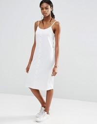 Платье в рубчик на пуговицах спереди ASOS - Белый