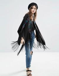 Накидка-кимоно с вышивкой и бахромой ASOS - Черный