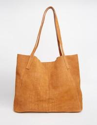 Замшевая сумка-шоппер с отделкой под кожу крокодила ASOS - Рыжий