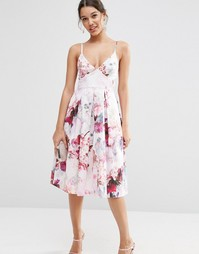 Платье миди для выпускного с цветочным принтом ASOS - Мульти