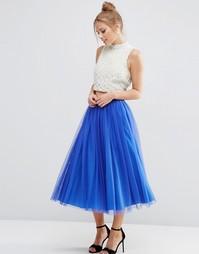 Многослойная юбка для выпускного из тюля ASOS WEDDING - Кобальтовый