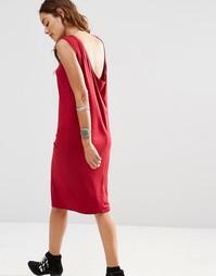 Платье миди без рукавов со свободным воротом сзади ASOS - Красный