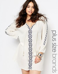 Платье-бохо с вышивкой размера плюс Diya