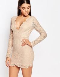 Кружевное платье мини с глубоким треугольным декольте Love - Телесный