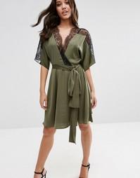 Атласное платье мини с кружевной спинкой ASOS - Хаки